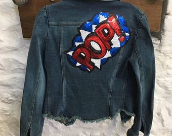 Vintage denim jacket with pop sequin embellishment