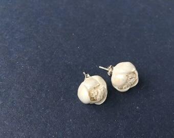Handmade Porcelain Pearl Flower Stud Earrings, White