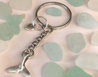 Whale tail with heart keychain
