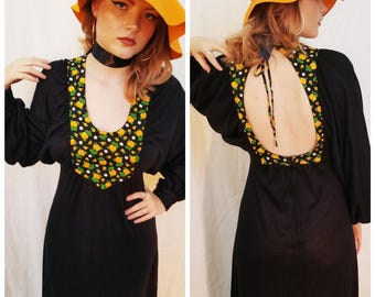 70s Boho Black Maxi Dress. Orange. Batwing sleeves. Open back. Size Small.