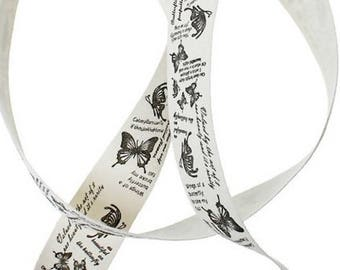 Cotton cream butterfly, width 1 M ribbons: 25mm