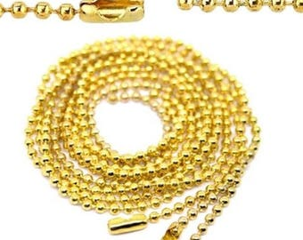 3 chains necklace mesh ball gold 80 cm