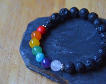 Chakra Stretch Bracelet with Black Lava Stone Beads
