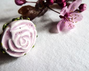 Pink Adjustable ring, pale pink ceramic cabochon, filigree