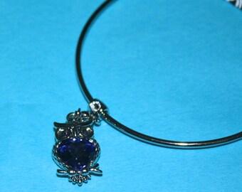 Swarovski Crystal Sliding Loop Bangle Bracelet w/ a Tanzanite Owl Charm
