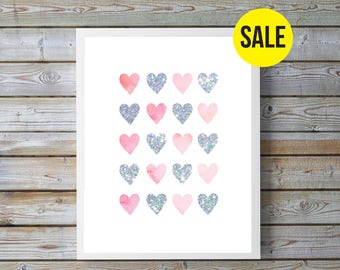 Pink, Silver, watercolor heart, Glitter,hearts, nursery art, nursery decor,nursery girl, nursery pink,nursery watercolor,nursery hearts,Love