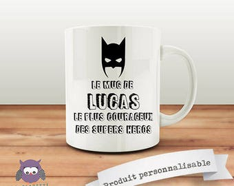 Mug customizable front/back of the Super Hero - customize it! Original gift