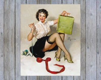 A Neat Package - 1961 Gil Elvgren vintage pin up art poster print