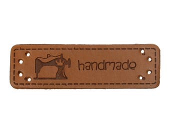 "Label ""handmade"" leatherette pattern sewing sewing machine"