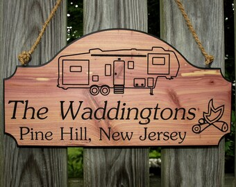 Personalized 5th Wheel RV Camping Sign, Custom Carved 5th Wheel Camper Sign, Fifth Wheel Camper Sign, 5th wheel sign, Wooden Camping Sign