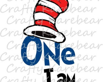 "Cat in the Hat ""One I Am"" SVG Digital File"