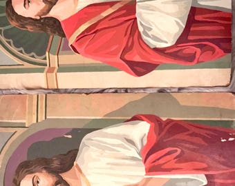 Vintage paint by numbers pair of Jesus paintings 16x20