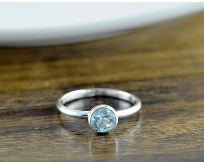 10% off SALE Sterling Silver Round Blue Topaz Ring - Topaz Ring - Birthstone Ring - Birthstone Jewelry - December Birthstone Ring - Stacking