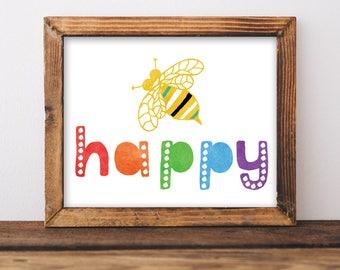 Be Happy Print. Printable Nursery Art. Rainbow Nursery Art. Nursery Printable. Colorful Nursery Picture. Playroom Pictures. Kids Art Poster.