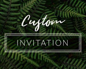Custom Invitation Design - Wedding Birthday Party Invite - Single Invitation Design