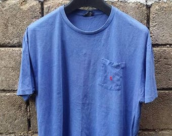Sale !!! Vintage Polo Ralph Lauren Small Pony Pocketed T Shirt