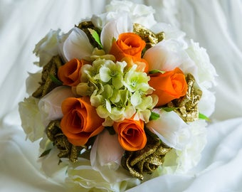 Gold Sparkle Rose Wedding Bouquet