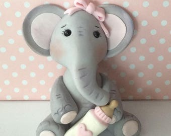 "Baby girl or boy elephant fondant cake topper,Baby shower cake topper,Birthday elephant cake topper 3 1/2"" T- 2 1/2 W"
