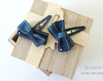 Toddler girl Jean bow snap clip set- hair clip- hair accessory- mini size