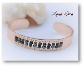 Brass gold Rose - black seed beads and Bronze - adjustable Bangle Bracelet pink Bracelet pink Adjustable ring - gold Cuff Bracelet