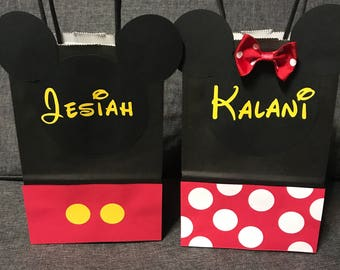 5x8 Minnie and Mickey Mouse Goodie Bags With or Without name for 2.00 each