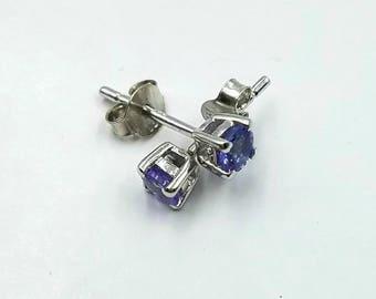 Tanzanite Earrings; Natural Tanzanite Stud Earrings, 0.40 Carats; Sterling Silver