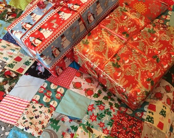 Christmas Fun Themed Patchwork Quilt or Sofa Throw