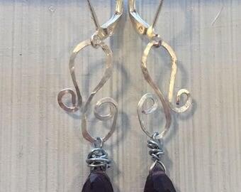 Ancient Chandelier Earrings / Antique Style Earrings / Roman Jewelry / Greek Jewelry / Amethyst Crystal Teardrop Silver Wire Earrings