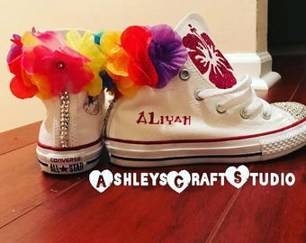 Birthday, Moana,  Luau, Shoes, Converse, Swarvoski, Flowers