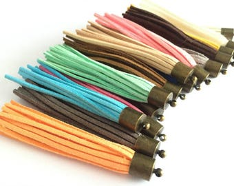 Antique Bronze Metal Plated assorted colors(20colors)---wholesale 50 or 100pieces 80mm Assorted colors suede leather ear tassel charms