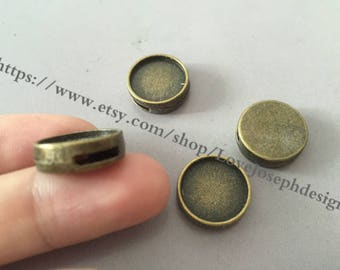 14mm slide bezel--wholesale 50 Pieces /Lot Antique Bropnze Plated 14mm slide bracelet blanks cabochon bezel trays charms (#0140)