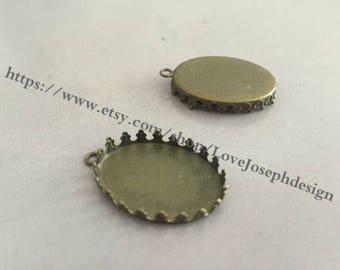 Wholesale 20 Pieces /Lot Antique Bronze Plated 18mmx25mm crown edged cabochon blanks trays charms(#0357)