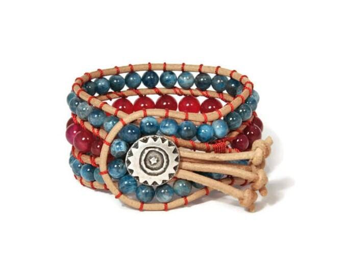 Boho Anetta * Agate Ruby & Apatite. 3 strand Wrap Bracelet. Boho Style. Bohemian Jewelry. Semiprecious stones. Gift for her. Cuff Bracelet.