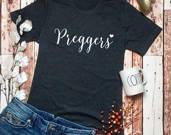 Pregnancy Announcement Shirt - Preggers Shirt - Pregnancy Reveal T Shirt - Preggers Tee - Prego Shirt - Baby Bump TShirt - Prego Tee Shirt -