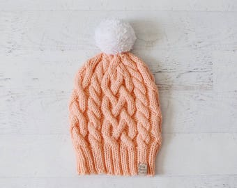 Cable Knit Hat, Cabled Hat, Knitted Cable Hat, Slouchy Knit Hat, Handknit Cable Hat, Interwoven Cable Hat, Winter Hat • IN CORAL •