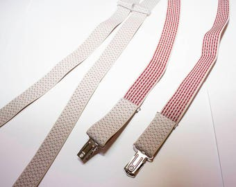 Vintage red and white clip suspenders
