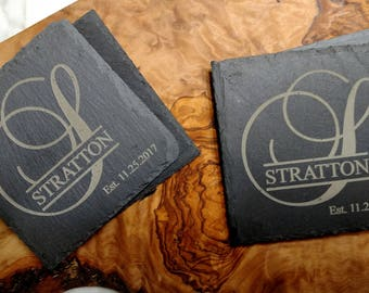 Engraved Family Name  Slate Coaster Set