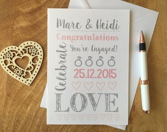 Personalised Engagement Card Congratulations Love