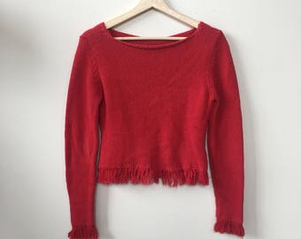 Red Sweater Fringe Cable Knit Collar Chevron Vintage USA