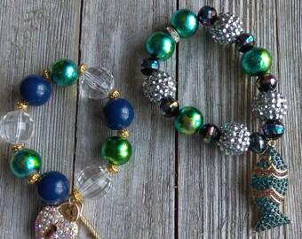 Beaded bracelets, gumball bracelet, rhinestone key bracelet, kids bracelets,  bracelets, custom bracelet, rhinestone fish, baby bracelet