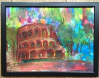 Original painting - The Colosseum, Rome, Italy in bright modern colours, inks,