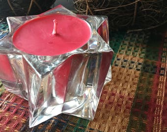 8 oz. Holly Berry Soy Candle in a Cut Glass Star Container