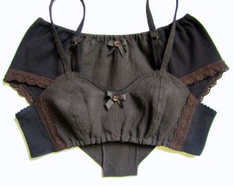 Organic Cotton & Linen Lingerie Set, Free shipping!