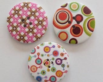 3 round buttons, sewing, scrapbooking geometry 4 cm