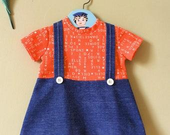 Vintage Girls dress / girls vintage dress. 1960s 1970s. Baby dress. Summer dress. Orange blue. Age 6 months - 12 months / age 1 ye