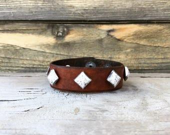 White Stone Studded Leather Cuff Bracelet