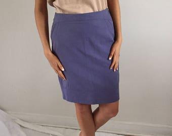 Vintage Periwinkle Minimslist Cotton + Linen Pencil Skirt w/ Pockets