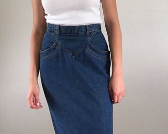 Vintage 80s Denim Jean Skirt w/ Pockets & Front Yoke | 27-28W 4/6