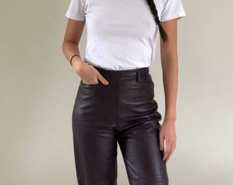 90s Leather High Waisted Tapered Leg Smooth Oants Raisin | 26W