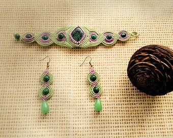 Macrame Set Bracelet and Earrings with Chrysocolla stione